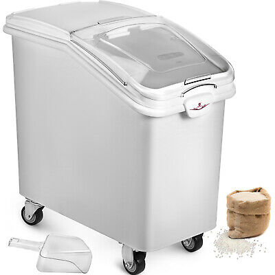 Commercial Kitchen Ingredient Bins 100L W Scoop Wheels Stackable Food Canister