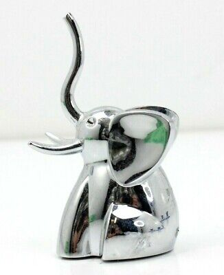Baublebar Elephant Jewelry Ring Holder Silver Tone Trunk Up Figurine Signed
