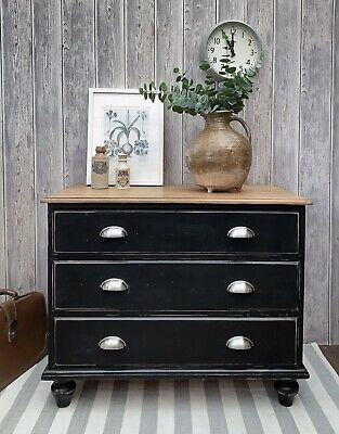 Black Distressed Rustic Farmhouse Vintage Solid Pine Industrial CHEST OF DRAWERS