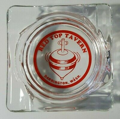 "Vintage Thick Clear Glass Square ""Red Top Tavern"" Darrington, Washington Ashtray"