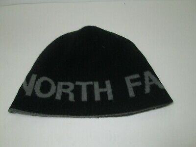 Unisex THE NORTH FACE Reversible TNF BANNER Knit Beanie HAT Gray to Black O/S