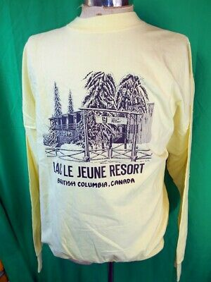 Vintage 80s Yellow Cotton Lac Le Jeune Resort Canada Made Long Sleeve T-shirt L