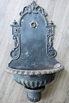 Antique French Cast Iron Garden Wall Mount 2 Part Drinking Fountain