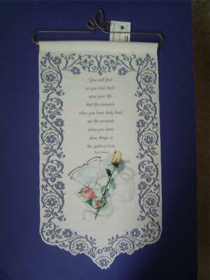 """""""MOMENTS""""- SPIRIT OF LOVE Ecru Wall Hanging Henry Drummond Heritage Tracery Lace"""