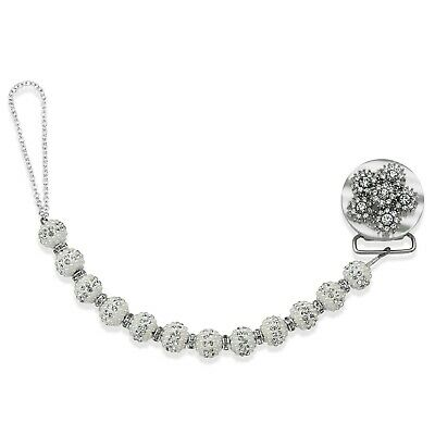 White Beaded Exquisite Flower Crystal  Pacifier Clip
