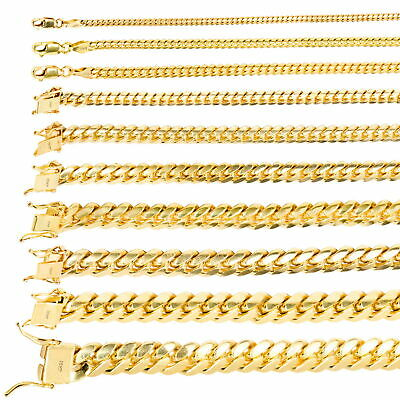 """10K Yellow Gold Solid 2.7mm-10mm Miami Cuban Link Chain Necklace Bracelet 7""""-30"""""""