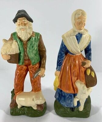 """Vintage Elderly Couple Farmers With Pet Pig & Dog Walking Figures 9.25"""" Tall"""
