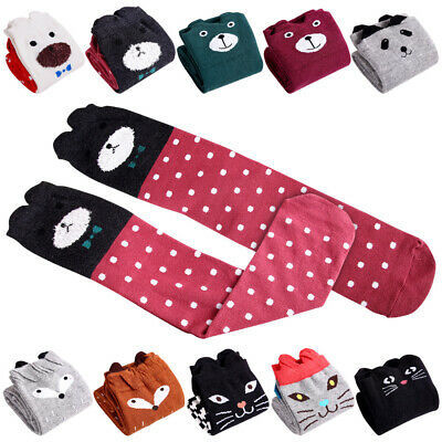 Child Girls Cartoon Animal Cat Bear Fox Cotton Over Knee High Socks Warm Design