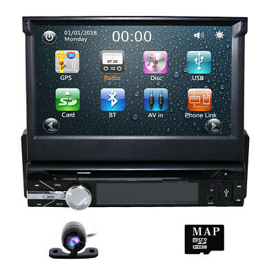 "Single 1 DIN 7"" HD Flip Up GPS Navigation Car Stereo CD DVD Player Map DAB+Radio"