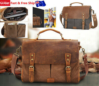 Men's Leather Canvas Messenger Bag Briefcase Retro Satchel Shoulder Laptop Bag