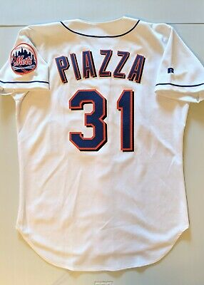 new product 9b902 9ae9b MIKE PIAZZA AUTHENTIC Russell Athletic NEW YORK METS White Jersey 44 Lg  Hundley