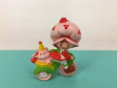 Vintage 1980s Strawberry Shortcake - PVC Mini Figure - Strawberry on Bike - RARE