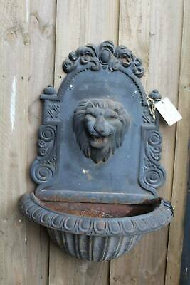 A Vintage Cast Iron Wall Fountain with Lions Head - 72cm High