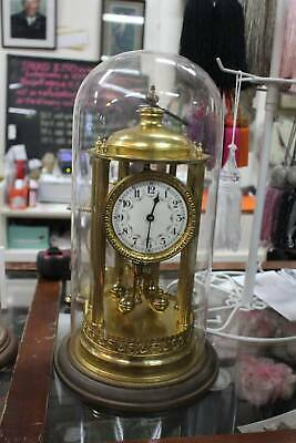 A Large Stunning Vintage German 400 Day Glass Dome Clock 43cm High