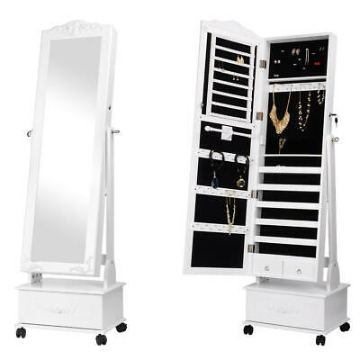 Movable Jewelry Cabinet W/ Full-Length Mirror Standing Jewelry Armoire Organizer
