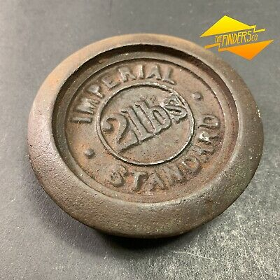 ANTIQUE c.1890 2lb IMPERIAL STANDARD CAST IRON SCALE WEIGHT VIC GOV MARK