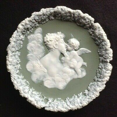 Antique VENUS & CUPID porcelain ART NOUVEAU wall plaque SCHAFER &VATER German
