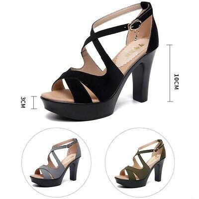 Roman Sandals New Women Platform Stiletto Ladies Peep Toe High Heels Ankle Strap