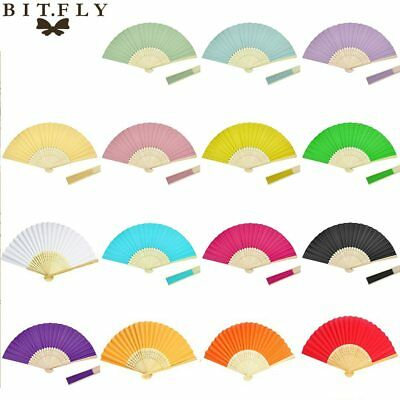 Chinese Japanese Folding Hand Held Fan Fan Paper Solid Color Bamboo Pocket Gift