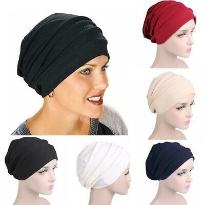 Adjustable Women Indian Stretchy Cotton Chemo Pleated Turban Hat Head Wrap  Top