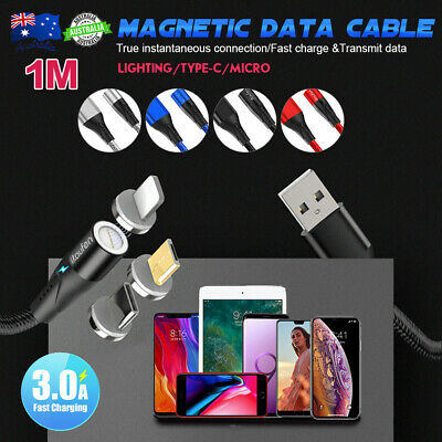LED Micro USB TYPE-C Magnetic Charger Lightning Cable Fast Charging for Samsung