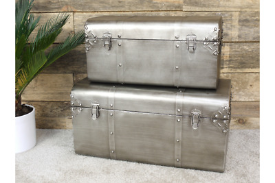 Set of Two Brushed Silver Industrial Metal Storage Trunks with Catches