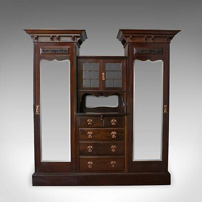 Antique Wardrobe, Maple and Co, English, Mahogany, Victorian, Art Nouveau C.1880