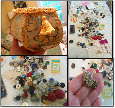 Vintage Panel/Crocheted lined Sewing Basket + whole lotta vintage buttons & more