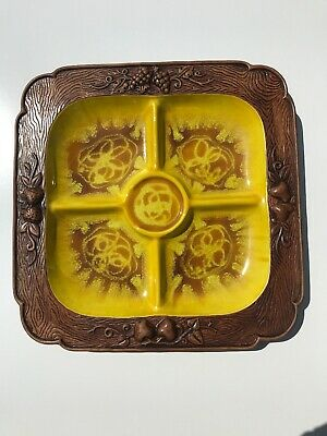 Vintage Treasure Craft Ceramic Divided Relish Dish Serving Platter Yellow/Brown