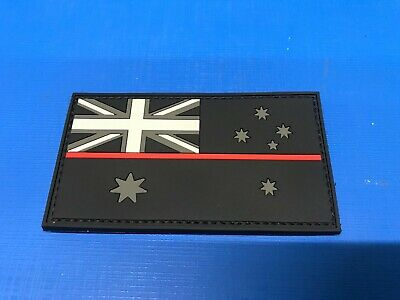 PVC Australian Flag Patch - Red Line - Firefighter - with Velcro