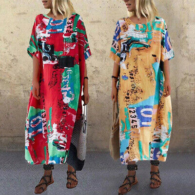Womens Plus Size Loose Midi Printed Summer Sundress Round Neck Half Sleeve Dress