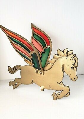 RARE Vintage Brass Pegasus With Stained Glass Wings Gold Flying Horse Retro