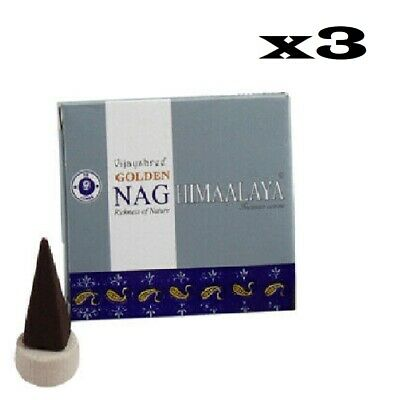 Vijayshree Golden Nag Himalaya Incense Cones x 3 Boxes (10 Cones each)