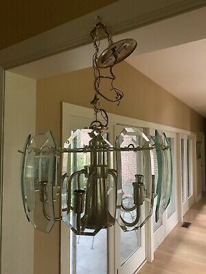 Hollywood Regency Brass Beveled Glass Chandelier Vintage