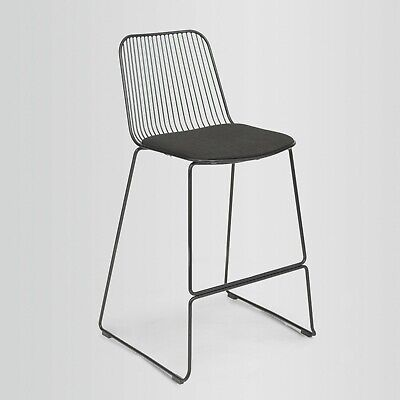 Fusionwell String Wire Bar Stool with Fabric Upholstered Seat