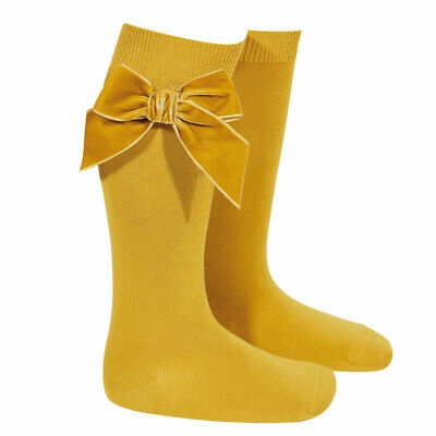 BNWT Condor Knee High Socks with Velvet Bow, Cream Navy Mustard Yellow