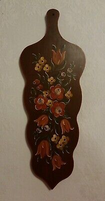 Vintage Norwegian Rosemaling Wooden Wall Hanging cutting board kitchen decor