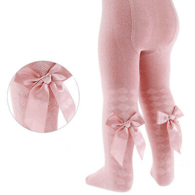 Baby Girls Spanish Style Diamond Design Rose Gold Pink or White Tights With Bow