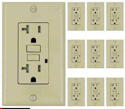 20 Amp GFCI Receptacle Outlet w/ LED & Wallplate UL  - Ivory Gfi 20 Amp (10PACK)