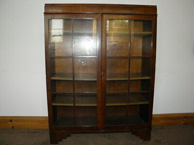 Vintage glazed mahogany bookcase display cabinet double door with shelves