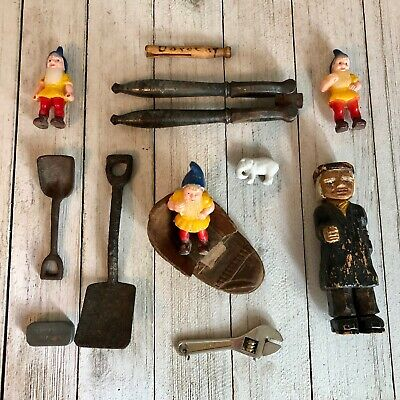Junk Drawer Lot Wood Carvings Mini Cast Iron Shovels Elves Berkey Bros Tin Etc