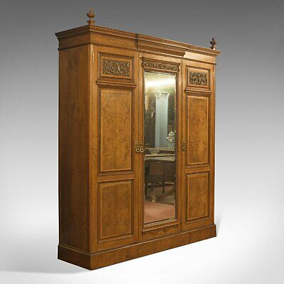 Antique Triple Wardrobe, Scottish, Oak, Compactum, Victorian, Circa 1870
