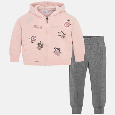 Mayoral Girls Embroidered Tracksuit In Steel (04801) aged 2-8