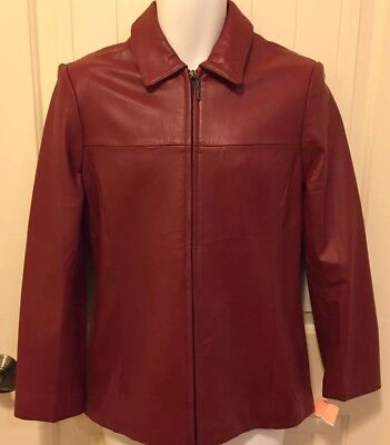 J.G.HOOK® Vintage Red Leather Casual Jacket Coat Motorcycle Women's Small Zipper