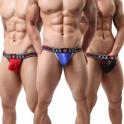 Sexy Mens Lace Underwear Thong Mesh Sheer Pouch G-string Briefs Bikini Underpant