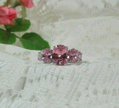 Beautiful Graduating Oval Cut Pink Topaz Cz Ring Silver-Plate Sz 9.5 4.48 Carat!