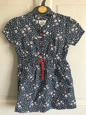 BNWOT Mini Boden Flowery Cotton Dress. Girls. Age 2 - 5 Years. Navy - White