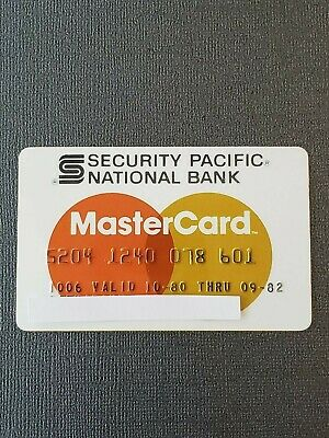 VINTAGE 80's SECURITY PACIFIC NATIONAL BANK MASTERCARD CREDIT CARD EXPIRED 09/82