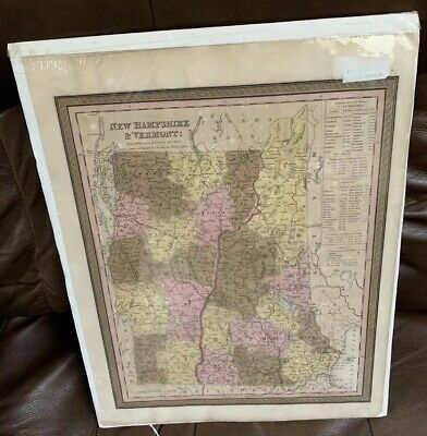 Antique S. Augustus Mitchell Map of New Hampshire & Vermont Hand Colored 1845
