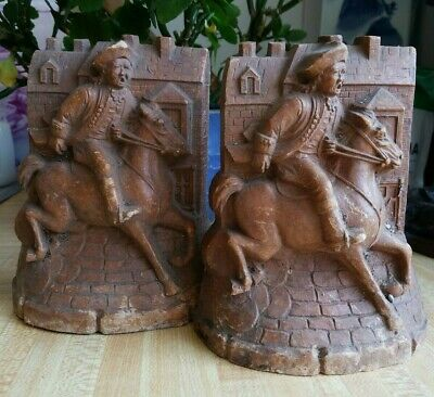 American Early Plaster Bookends Castle Horseman Soldier James Freney Highwayman